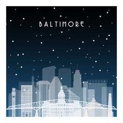 Winter night in Baltimore. Night city in flat style for banner, poster, illustration, background.