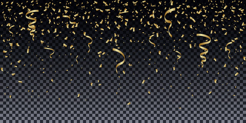 Golden glitter particles background effect. Sparkling texture. Isolated on transparent background.
