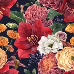 Fototapete - Watercolor floral vector pattern