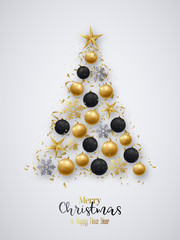 Golden and black christmas balls, bright snowflakes, stars and confetti in the shape of pine tree. Merry Christmas and Happy New Year.