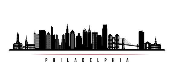Philadelphia city skyline horizontal banner. Black and white silhouette of Philadelphia city, Netherlands. Vector template for your design.
