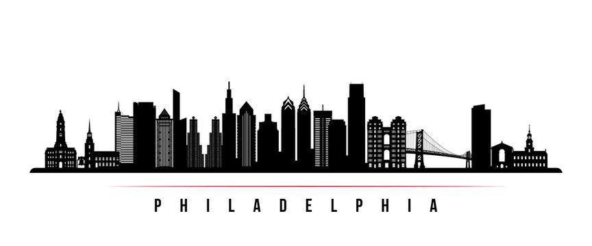 philadelphia city skyline horizontal banner. black and white silhouette of philadelphia  city, netherlands. vector template for your design. stock vector | adobe  stock  adobe stock