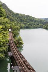 Tadami railway line and Tadami River in summer season at Fukushima prefecture.