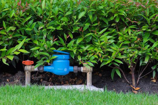 Water meter in the garden, Close up water meter .