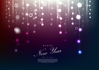 Happy new year wonderful fairy light background template vector