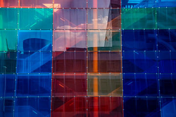 colorful window facade on modern building