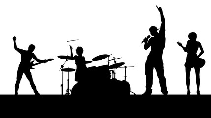 A musical group or rock band playing a concert in silhouette