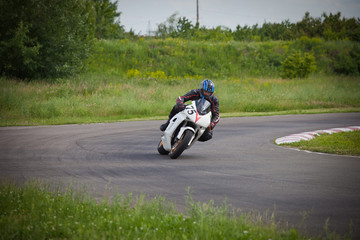 Motorcyclist enters a turn.