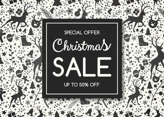 Christmas Sale - colorful background with reindeers. Vector