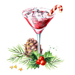 Red christmas martini with lollipop or candy cane and xmas composition. Watercolor hand drawn illustration, isolated on white background