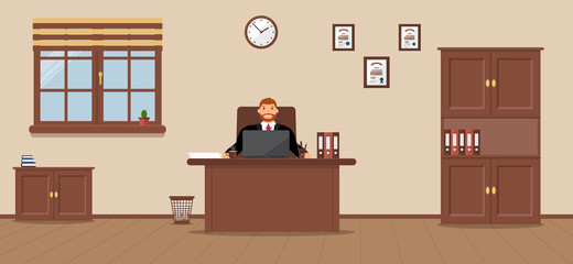 Young businessman sitting in the workplace in a spacious office on a cream background. Vector illustration.Table, wardrobe, diplomas. Wooden floor. Perfect for advertising