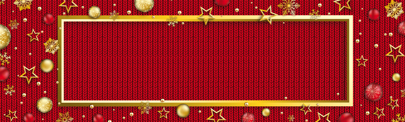 Christmas Baubles Stars Golden Frame Snowflakes Bauble Red Knittin Header