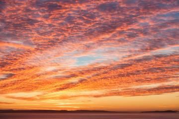 Dramatic Sunrise Mackeral Sky with Cirrocumulus Clouds