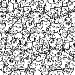 Funny doodle cats and kittens seamless pattern for prints, designs and coloring books