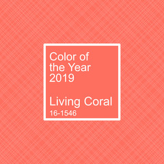 Living coral color of the year 2019. Seamless hatch vector pattern and swatch