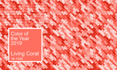 Color of the year 2019. Living coral color abstract vector background