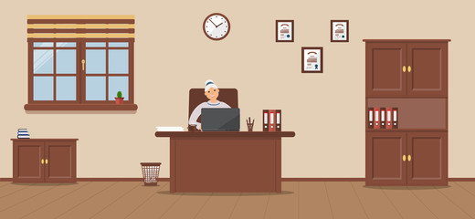 An elderly woman sitting in the workplace in a spacious office on a cream background. Vector illustration.Table, wardrobe, diplomas. Wooden floor. Perfect for advertising