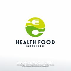 Healthy Food logo designs concept, Vegetarian Food logo template, Logo symbol icon