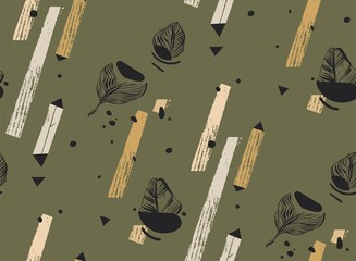 Hand drawn vector abstract freehand textured seamless tropical pattern collage with geometric shape,organic textures,triangles and palm leaves isolated on khaki background.