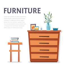 Home furniture concept. Cabinet with chair and decorated objects.
