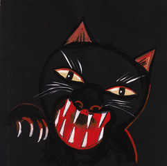 black panther in night