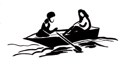 Boy and girl in boat