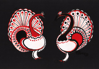 two  decorative peacocks