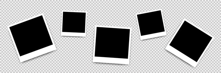 Composition of realistic black photo frames on transparent background. Mockup for design