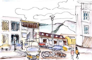 Instant sketch,  Reykjavik