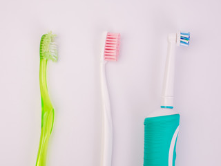 Dental concept. Toothbrush and electric toothbrush isolated.Care health, hygiene healthy.