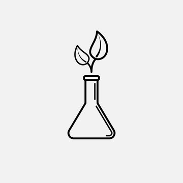 Plant in a flask outline icon. icon. Plant in a flask outline concept symbol design. Stock - Vector illustration can be used for web.