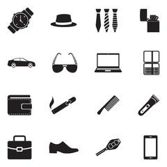 Men's Accessories Icons. Black Flat Design. Vector Illustration.