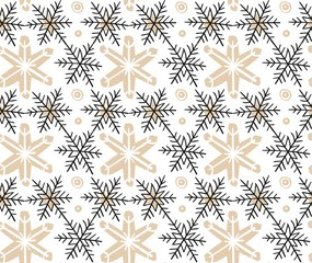 Hand drawn vector Merry Christmas rough freehand graphic design elements seamless pattern with snowflakes isolated on white background