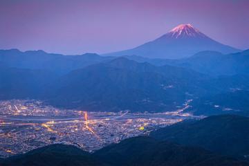 Mt.Fuji and Kofu city in sunset
