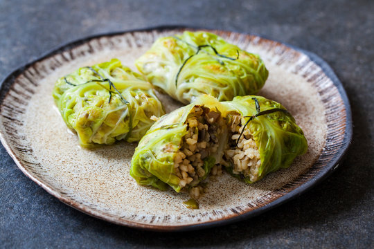 Cabbage rolls stuffed with mushrooms, leek and bulgur wheat