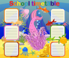 Timetable with days of weeks for school. schedule for children with cartoon mermaid and turtle.