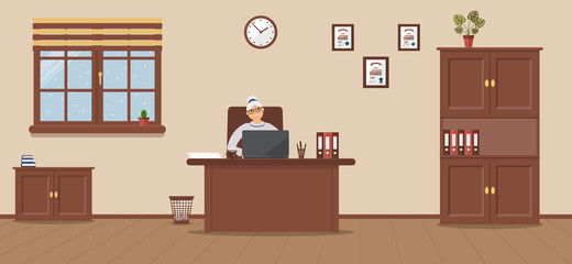An elderly woman sitting in the workplace in a spacious office on a cream background. Vector illustration.Table, wardrobe, diplomas. It`s snowing outside.Wooden floor. Perfect for advertising