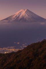Mt. Fuji and Fujiyoshida town in autumn season seen from Mt. Mitsutoge