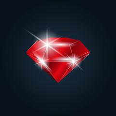 Ruby gemstone shining