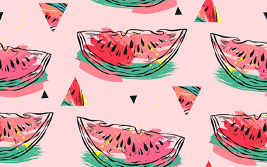 Hand drawn vector abstract collage seamless pattern with watermelon motif,triangle hipster shapes and artistic freehand textures isolated on pink pastel background