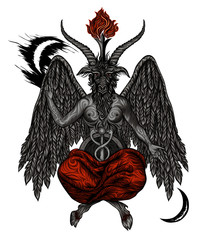 Demon Baphomet. Satanic symbol. Vector illustration