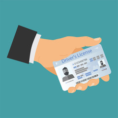 Icon driver's license in flat style, identity card. ID card, identification card, identity verification, person data. Vector illustration.