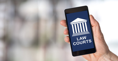 Law courts concept on a smartphone