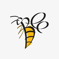 Animal typography, animal calligraphy, animal logo, animal logotype. Bee typography, bee calligraphy, bee logo, bee logotype.