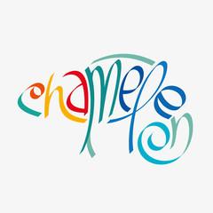 Animal typography, animal calligraphy, animal logo, animal logotype. Chameleon typography, chameleon calligraphy, chameleon logo, chameleon logotype.