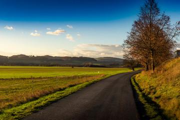 Fototapeta Autumn countryside asphalt road.