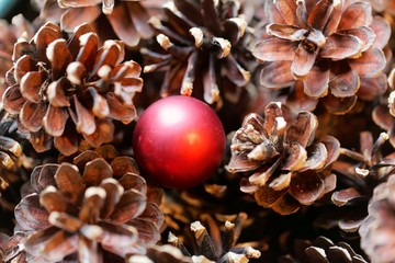 Detail of dry pine cones with a red Christmas bulb