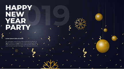 Happy New Year Vector Poster Whit Gold Elements Banner
