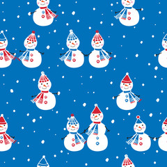 christmas seamless pattern with cute snowmen for gift wrap textile wallpapers and scrapbook