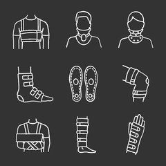 Trauma treatment chalk icons set